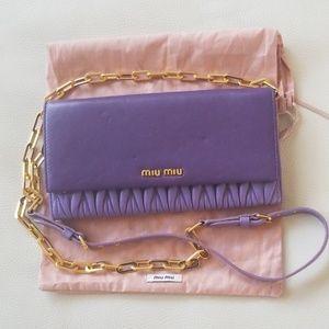 AUTHENTIC Miu Miu matelassé purple crossbody chain